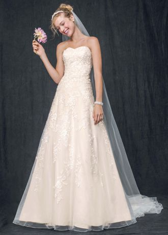 Sweetheart Tulle A Line Gown with Lace Appliques