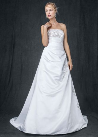 As-Is A-line Side Drape Strapless Gown