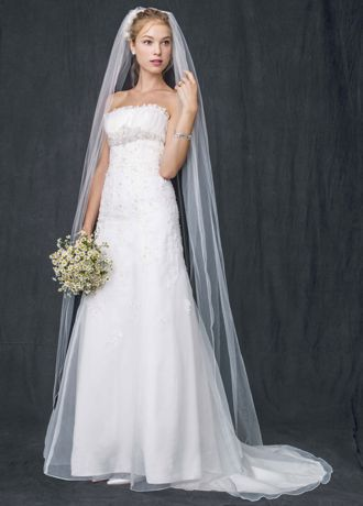 Organza Trumpet Gown with Embellished Lace