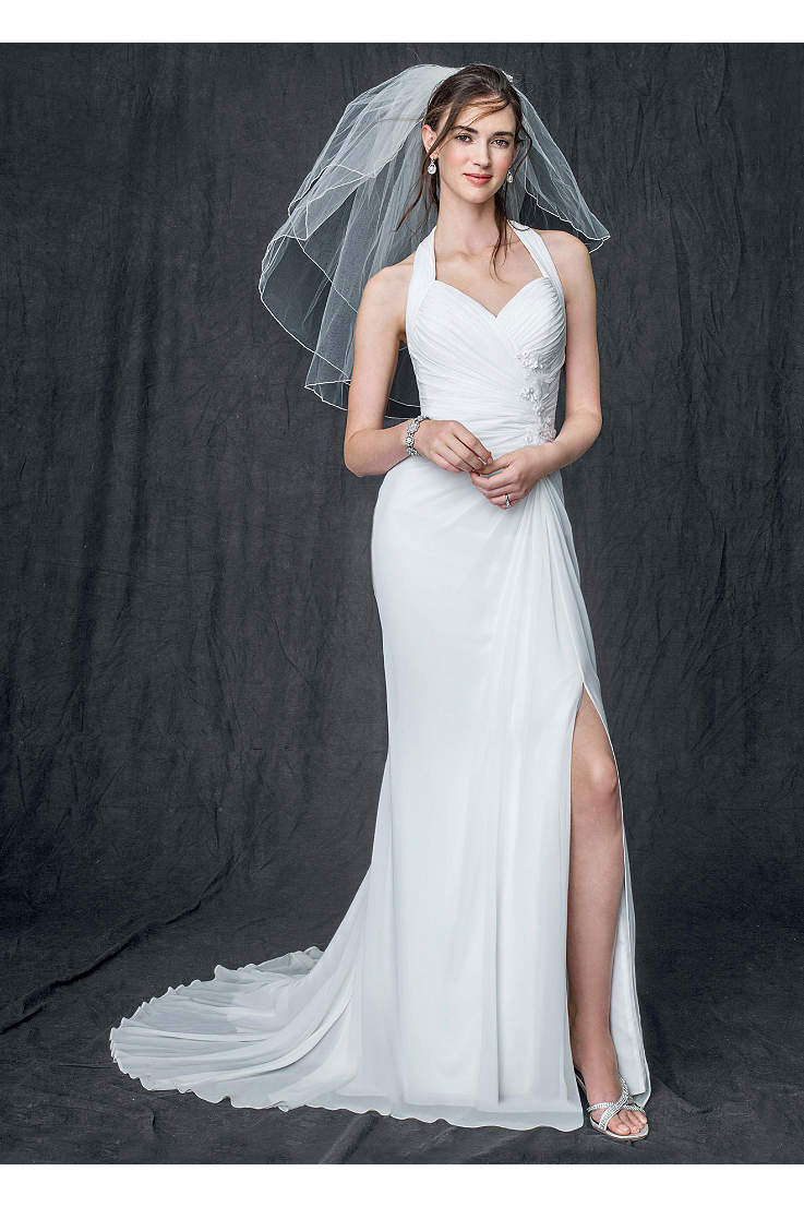ea2f64cb9d96f Chiffon Gown with High Slit and Halter Tie Back