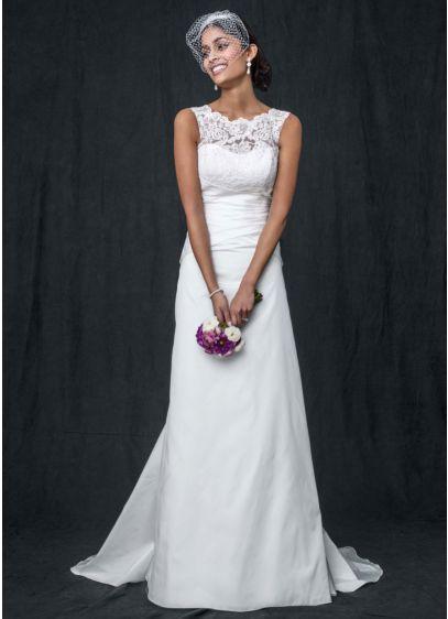 Taffeta wedding dress with illusion lace neckline davids bridal long a line formal wedding dress junglespirit Gallery