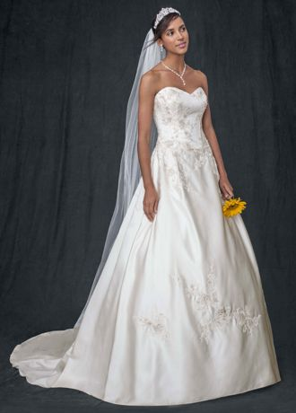 strapless corset wedding dress with lace appliques  david