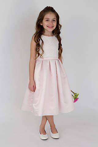 Cheap flower girl dresses davids bridal scalloped lace and satin flower girl dress mightylinksfo