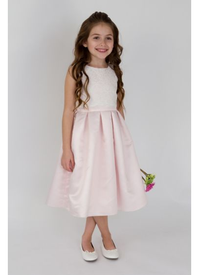 Scalloped lace and satin flower girl dress davids bridal short ballgown tank dress us angels mightylinksfo