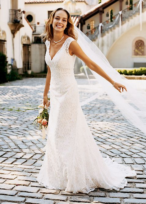 Petite All Over Beaded Lace Trumpet Gown | David\'s Bridal