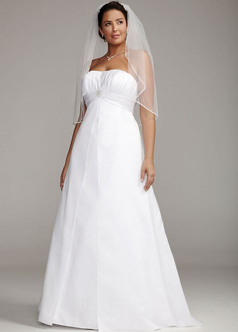 Satin Plus Size Wedding Dress with Pleated Bodice | David\'s Bridal