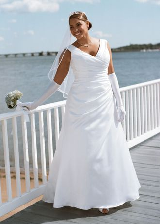 Off-the-shoulder A-Line with Side-draped bodice
