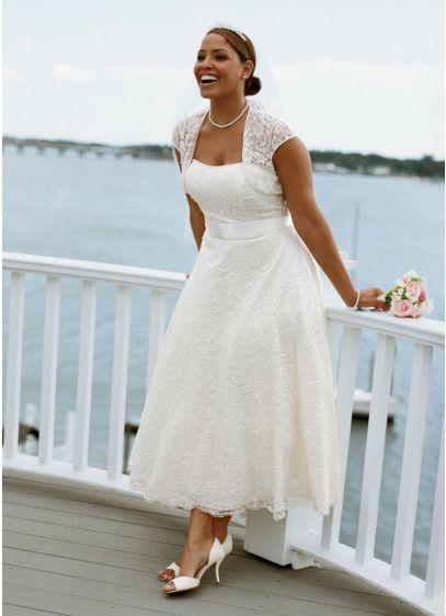 Strapless Tea-Length Gown with Cap Sleeve Shrug   David\'s Bridal
