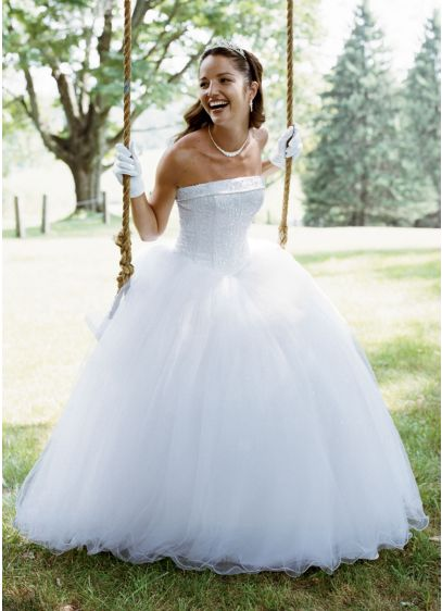 No Train Tulle Ball Gown with Beaded Satin Bodice   David\'s Bridal