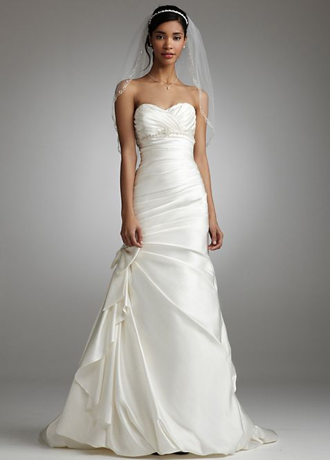 Satin Mermaid Gown with Bow Detail | David\'s Bridal