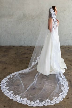 Hand-Sewn Wide Floral Lace Cathedral Veil